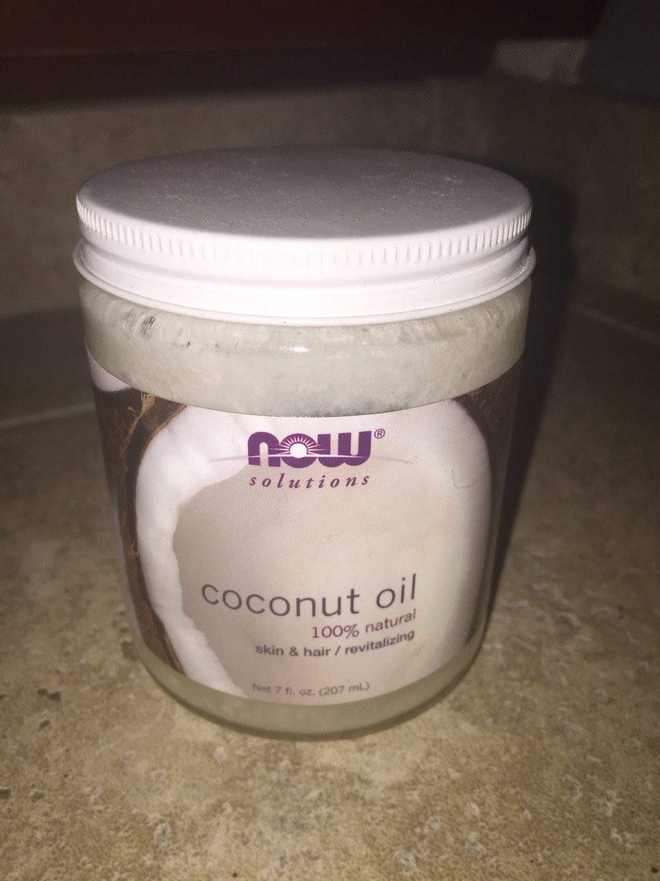 I bought this coconut oil at whole foods. It's a great way to get rid of facial blemishes and it's amazing for your hands.