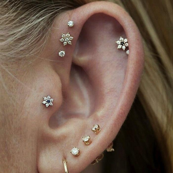 helix, upper and standard lobe, tragus and double studded helix piercings