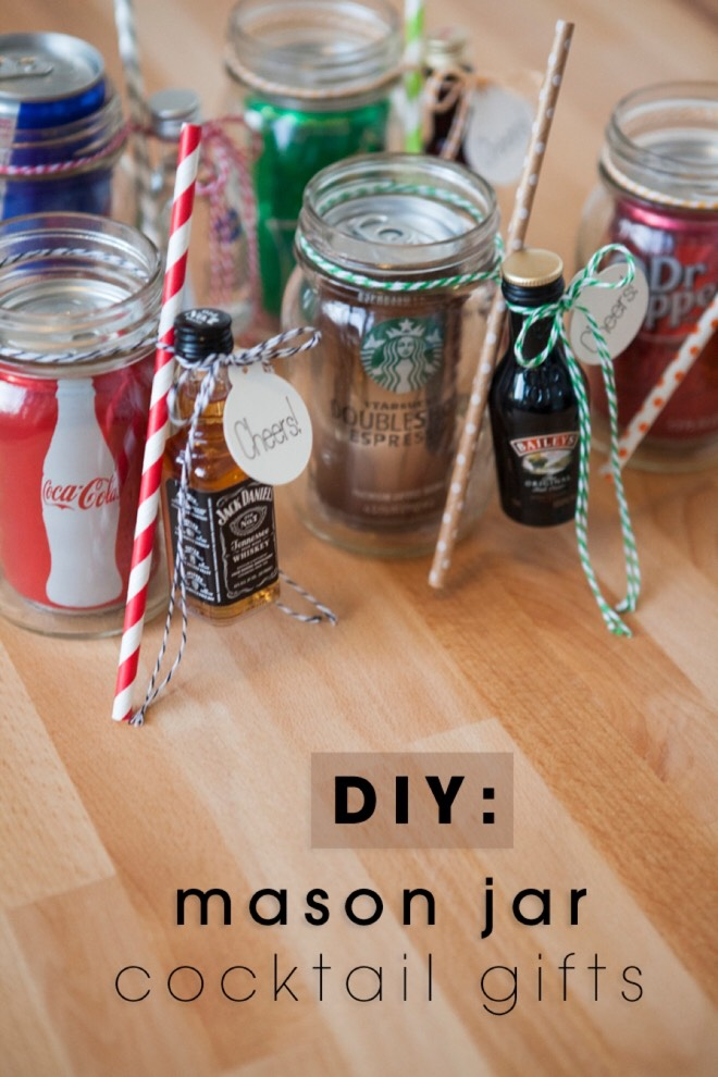 This one is great for adult parties! Put a can of soda inside the jar tie a straw and small bottle of alcohol to the outside.
