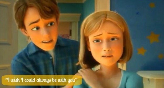"💕In Toy Story 3 Andy is going to college and his mom says, ""I wish I could always be with you.""💕"