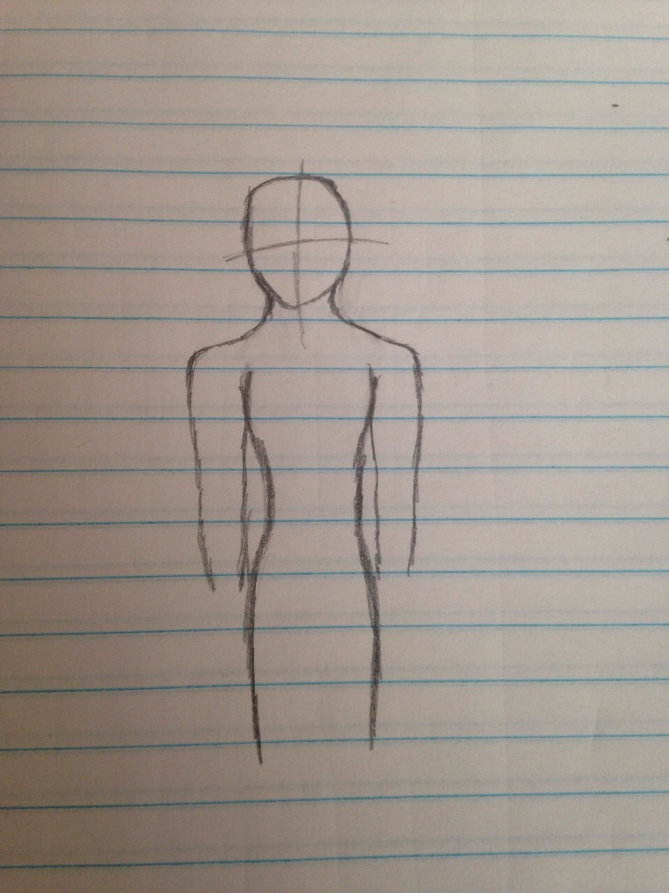 Add on the torso, and carry on to the bottom and the begging of your legs.  Since I'm making a girl, I decided to fix the neck and make it a bit thinner as you can see.