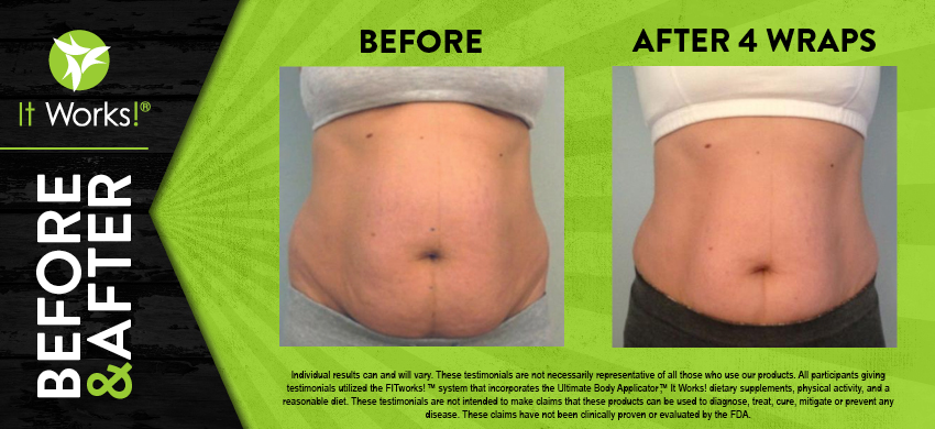 And the results are in! After using the wrap you can expect to see tightened, toned, and firmer skin!