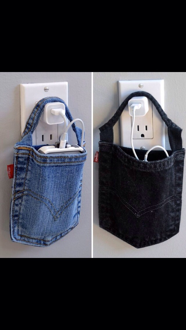 So cute and easy!!! Cut the pocket off an old pair of jeans. Use it as a very cute phone holder!!!