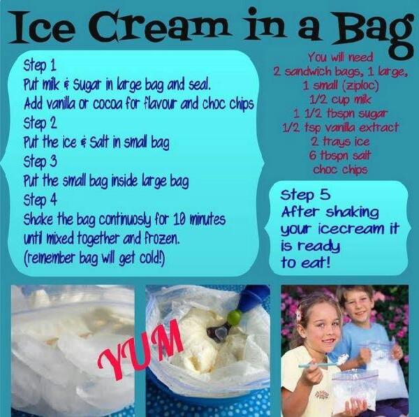 homemade bag ice cream
