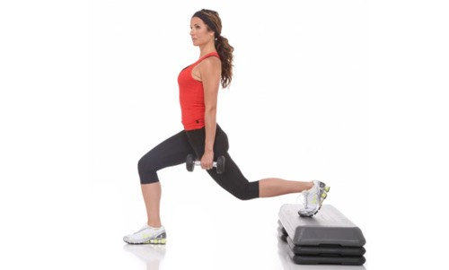 Elevated lunges - Do 20 per leg and use weights if you want more of a challenge