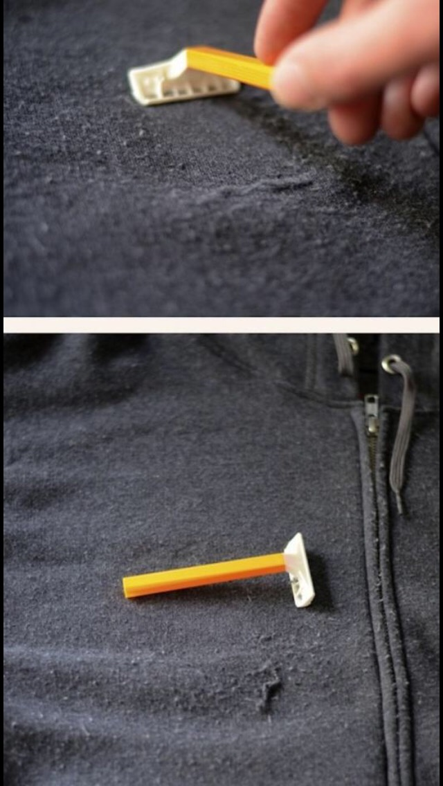 Use a razor to get rid of annoying loose strings