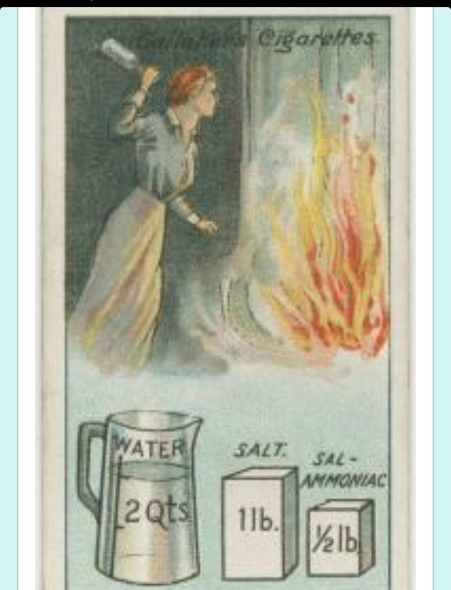 """""""Dissolve one pound of salt and half a pound of sal-ammoniac in two quarts of water and bottle the liquor in thin glass bottles holding about a quart each. Should a fire break out, dash one or more of the bottles into the flames, and any serious outbreak will probably be averted."""""""
