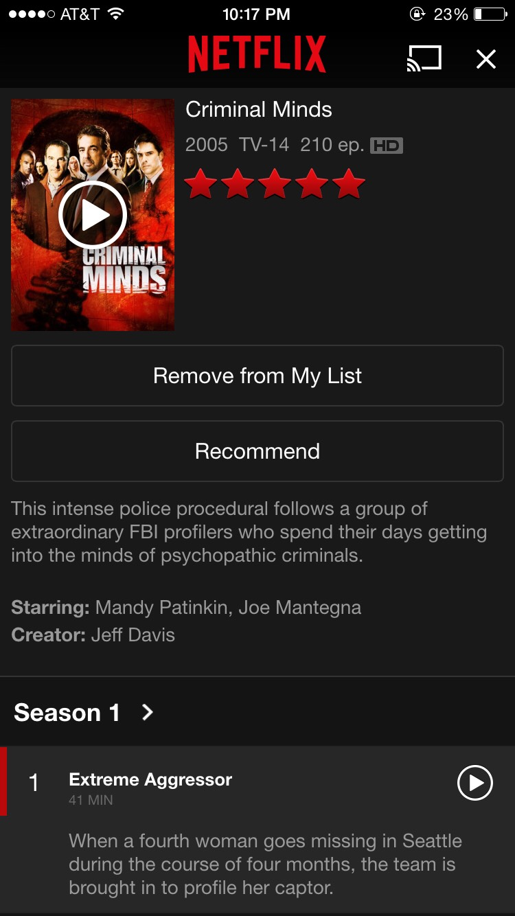 Criminal Minds personal rate:⋆⋆⋆⋆  Any criminal shows are worth watching when nothing else to do, especially Criminal Minds😉