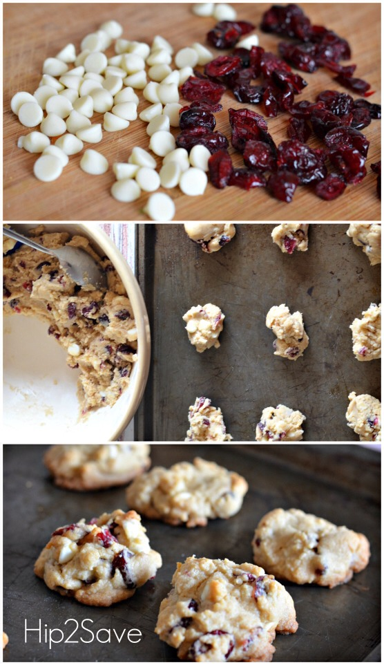 1 cup white vanilla baking chips (6oz) 1  cup sweetened dried cranberries  Directions:  Heat oven to 350°F. In large bowl, beat butter, brown sugar, granulated sugar, vanilla, almond extract and egg with electric mixer on medium speed until well mixed.