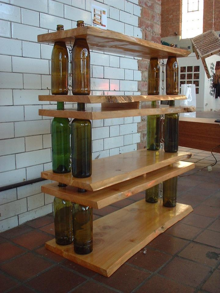 A Wine Shelf With some specially cut boards, it's possible to make a one-of-a-kind wine shelf.