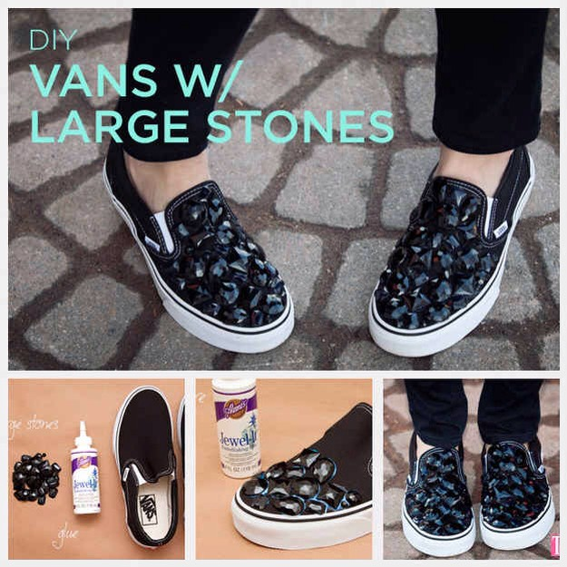 9. Stick big gem stones onto sneakers with embellishing glue. Since gemstone packages can have stones of varying sizes, lay them out on your shoes to get an idea of where you want them before you start gluing.