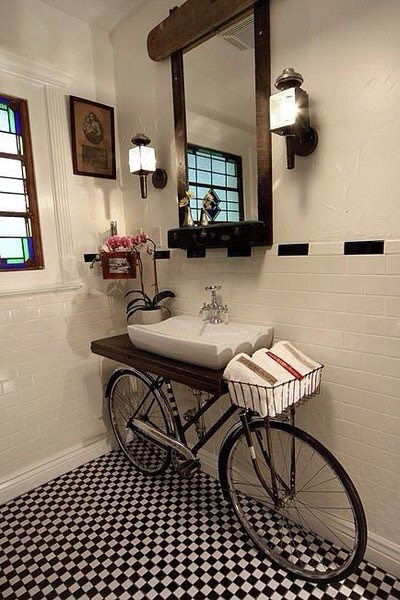 Bicycle into a sink