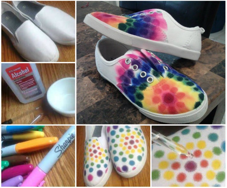 Make your design out of sharpie then drop water on your shoes that have sharpie on them !