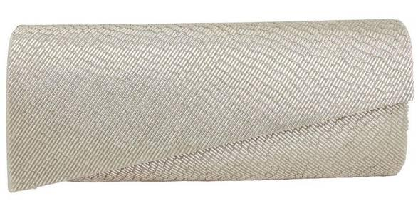 The sleek silver and asymmetrical lines of this Meredie Clutch give this a modern look – great with an asymmetrical neckline or one shoulder gown.