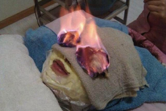 1. Fire facial Unusual beauty treatments are big in Japan. The latest to spread like wildfire: Huǒ liáo fire treatments. Towels are soaked in alcohol and an invigorating beauty elixir, draped over parts of the body, and then set on fire.