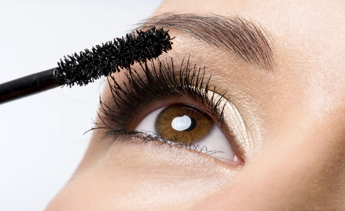 """Blink slowly into a mascara so your lashes are more """"pumped up"""", so they don't stick straight."""