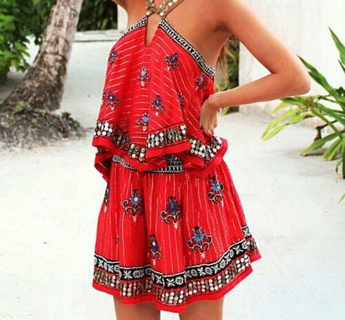 Patterned dresses.