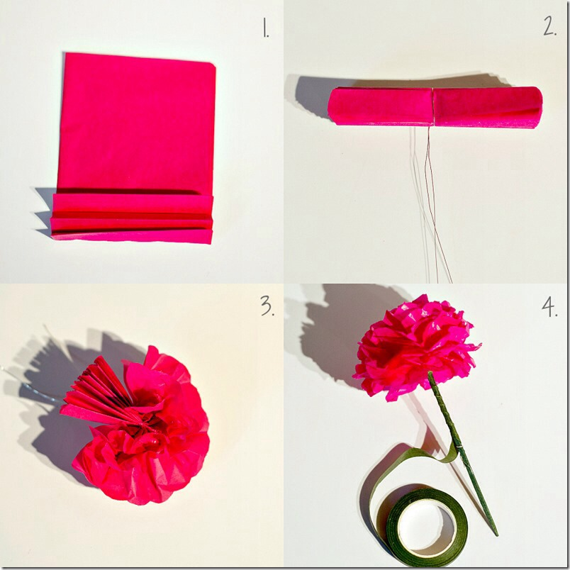 Cut tissue into squats 4 by 4 depend on haw big you want it. With the papers all together fold it back and forth like a fan. In the middle twist the wire or pipe cleaner. Then lift one paper at a on each side going back and forth.