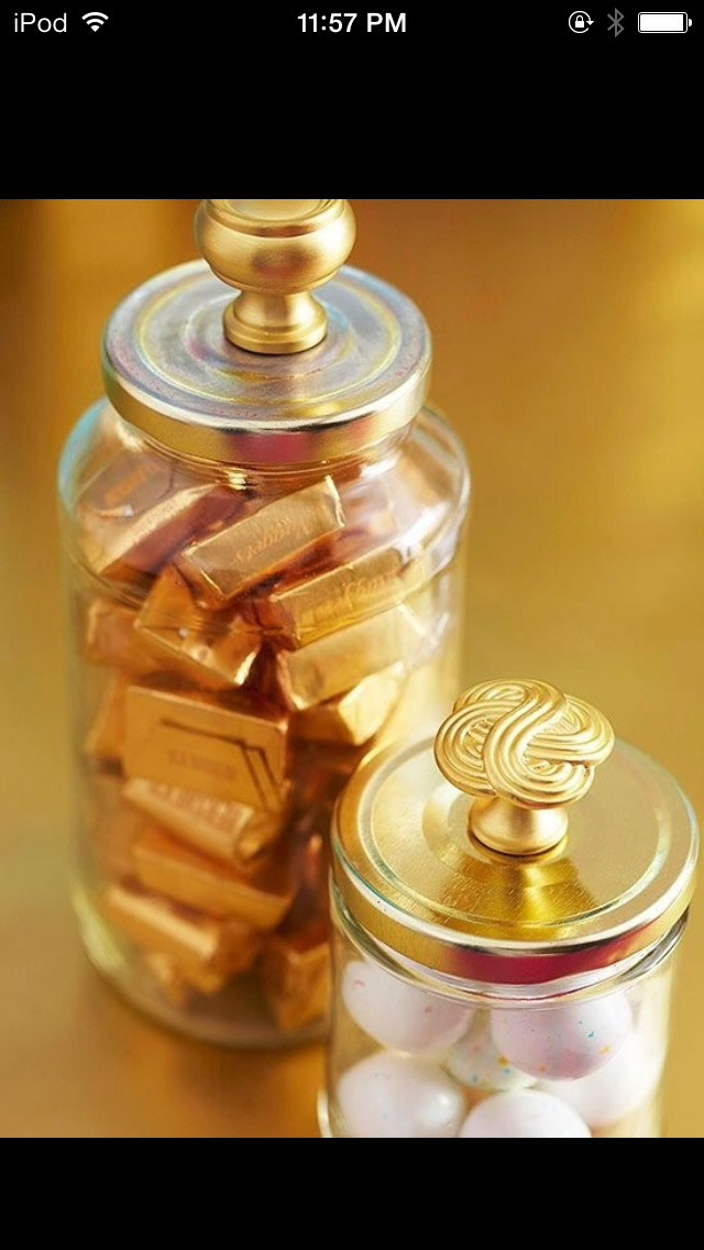Paint the a jar lid gold and then just super glue a handle to the top. And you'll have a cute yet elegant jar!(: