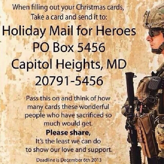 Please share a bit of love with the soldiers out there, remember that they are missing the holiday season and their families, a bit of love and appreciation would be received with so much Joy! Thanks in advance for caring & sharing! Save the picture and share it with your friends on all social media