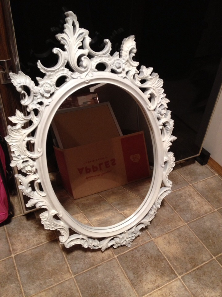 Spray paint your ugly gold mirror lightly with cream paint to modernize it... Make sure to take the mirror out or cover it first