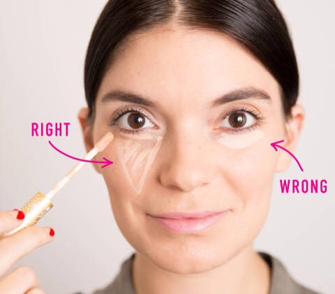 7.The most flattering way to apply concealer is to draw a triangle with the base under your eye & the point toward your cheek.  This shape not only conceals dark circles, but it also instantly creates the illusion that your face is lifted.