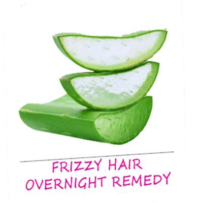 Frizzy hair:  Aloe gel extracts are been widely used in hair care products. Remove the gel of aloe from its leaf and mix it with almond oil. Apply it to your hair, keep it on for overnight and then rinse your hair. This is a natural and effective remedy to fight dry, frizzy hair.