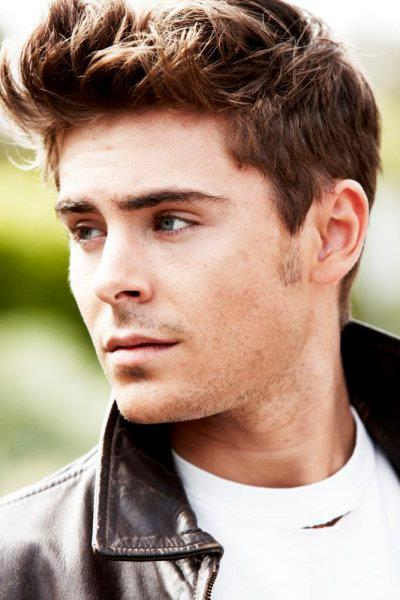 Zac Efron gives a modern take on a classic short-length James Dean. With the top being longer than the sides it is a more relaxed casual hairstyle.