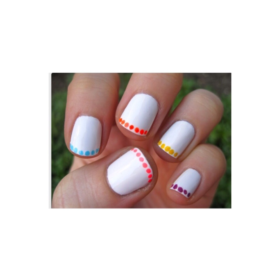 1) paint you nails, preferably white. 2) take all kinds of cute colors 3) use the end of a bobby pin or tooth pick. 4) ready to go!