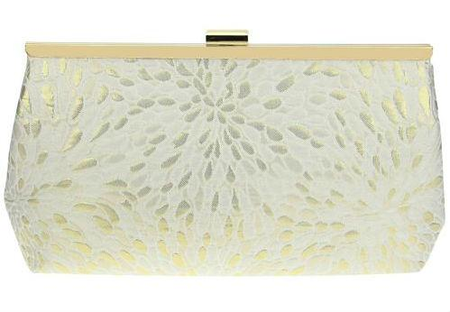 This gold flecked clutch by Nina is a great accessory for a bride who wants a gilded style.
