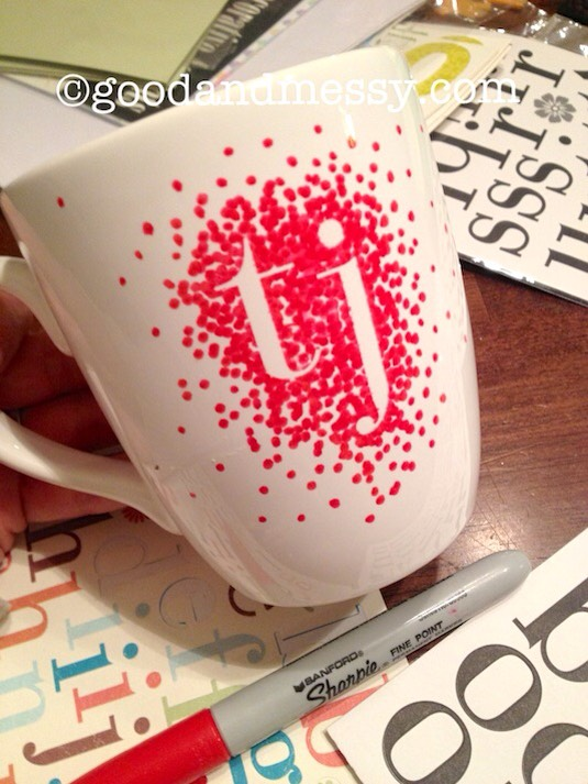 1. Monogrammed Sharpie Mug You really could customize it however you'd like but I'm digging the idea of using stickers and then using your pen around them. Once you pull them off it looks really could customize it however you'd like.
