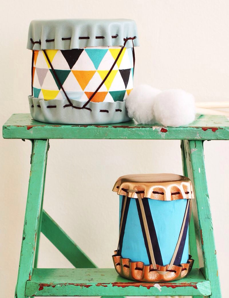 Glue cotton all over the ball to create your drum sticks.  6. Enjoy your adorable new gift!