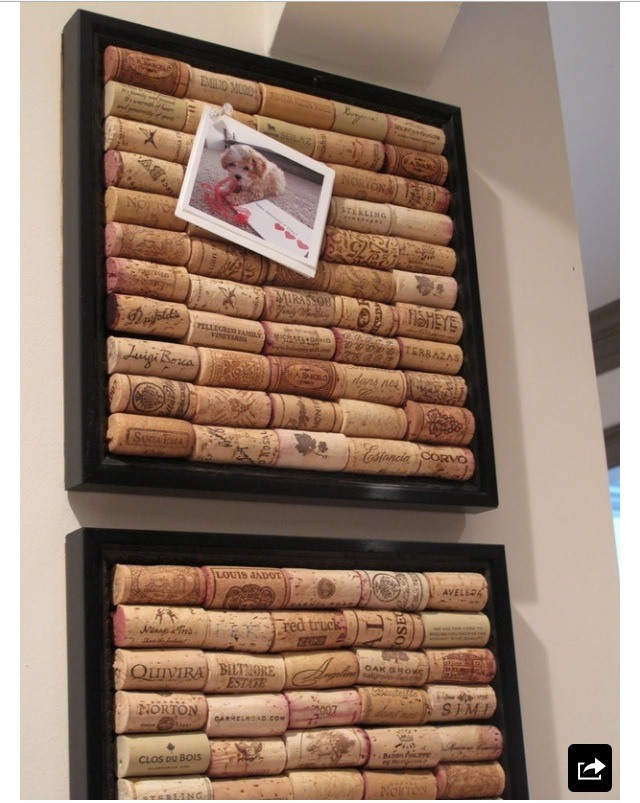 Simply glue old corks on to a large picture frame with a hot glue gun. And voila!