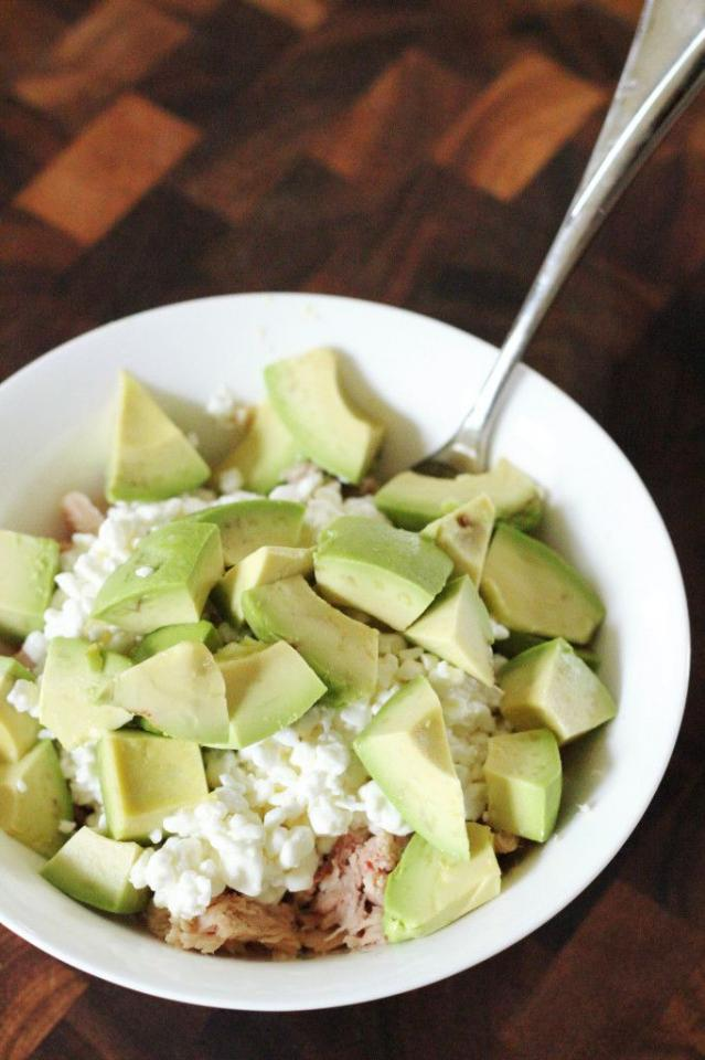 Tuna (could also use canned salmon), cottage cheese, and avocado