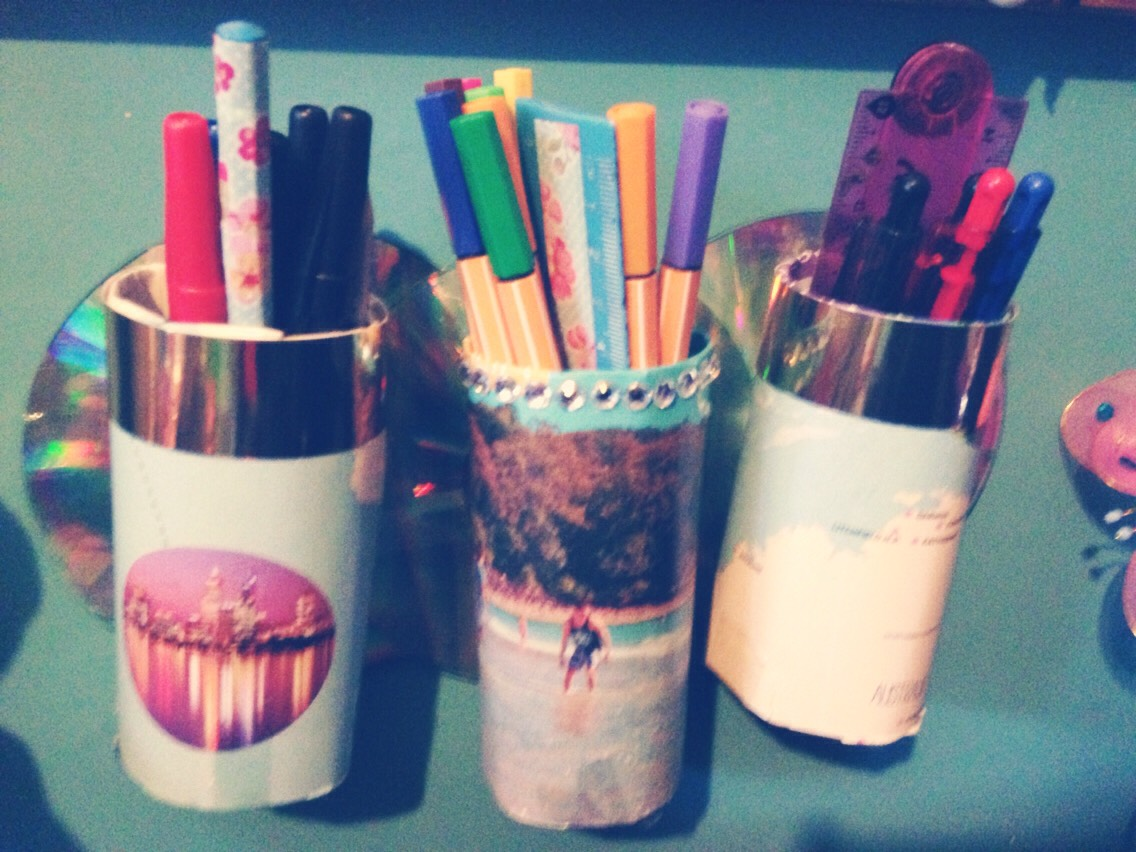 Pencil pots of out toilet roll and CD's