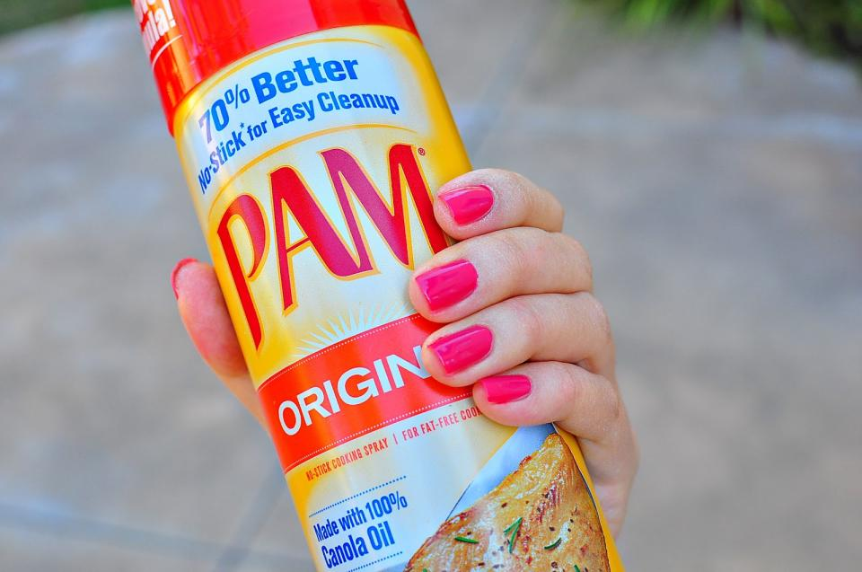 Spraying your manicure with Pam can prevent smudges.