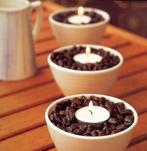 Fill in a cup with coffee beans. Place a tea light in the middle of the cup. When you light up the candle a nice aroma will fill in your room