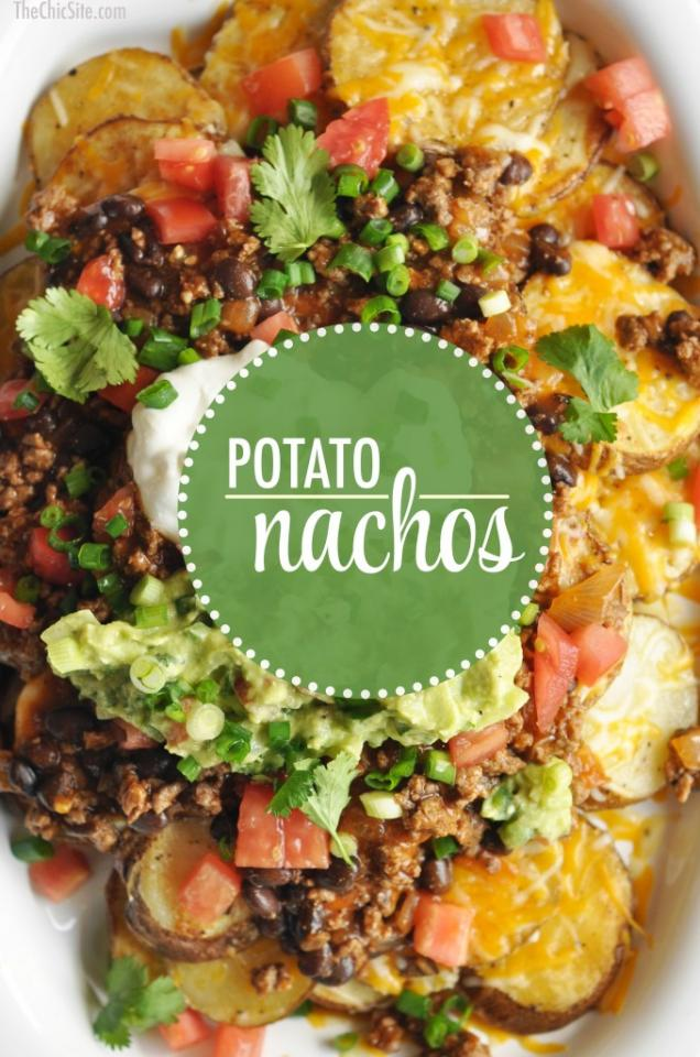 Potato Nachos are a great take on a classic dish! Potatoes are topped with all the traditional nacho toppings! Beef, cheese, guacamole, and sour cream!