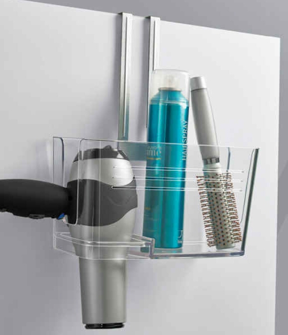 Over-the-door caddy to store your hair products. ($19.99)  http://www.containerstore.com/s/hide-n-sink-undersink-caddy-by-umbra/d?productId=10025305&q=Hide%20n%20sick%20undersink