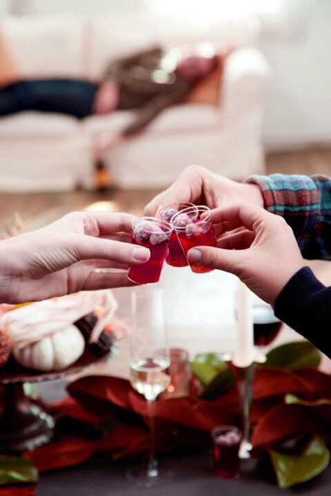 """Cranberry Jell-O Shots Will Help You Really GetSauced This ThanksgivingCranberry sauce? Wethought you said """"cranberry shots."""" The sugar-coated cranberries are optional, but highly encouraged—they make for a great sweet-tart chaser after you've downed the shot. LEVEL:EASY YIELD:20 SERVINGS SERVES:20"""