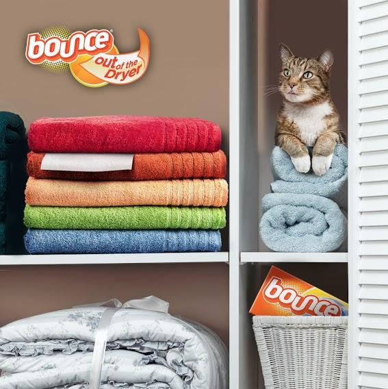 Keep a Bounce sheet in the cabinet with your towels for freshness each time you pull out a towel