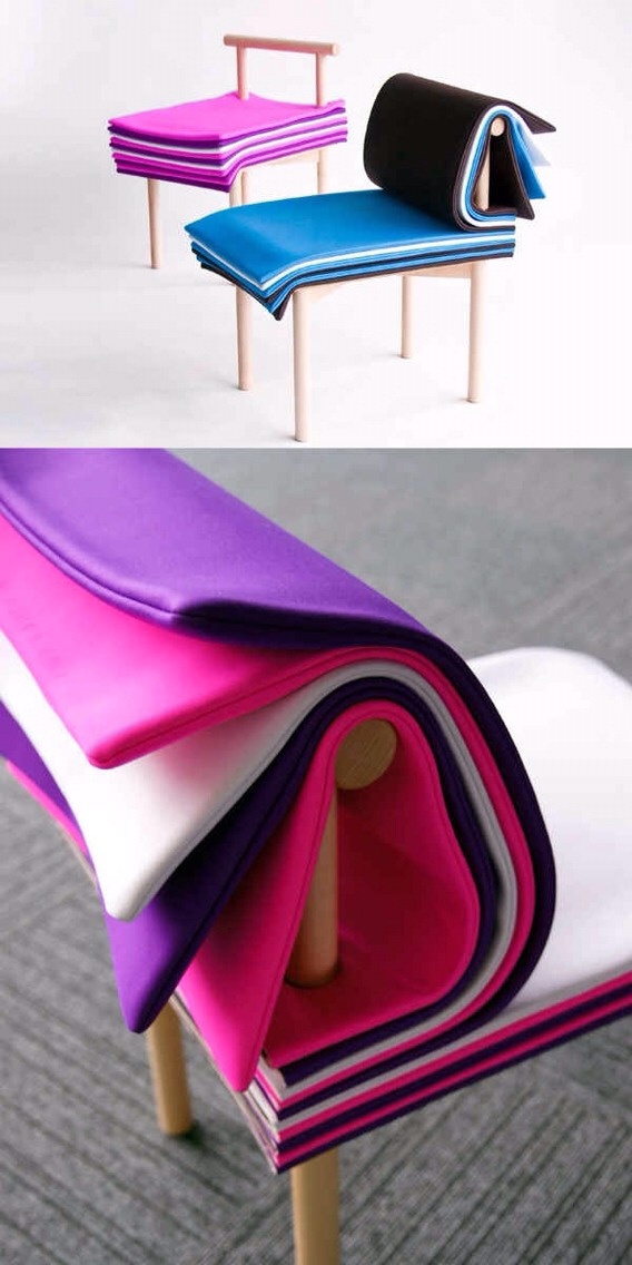 """8. A chair that consists of """"pages."""""""