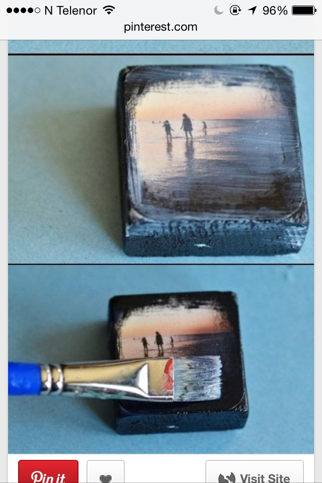 How to make a photo to stick to a piece of wood! First a layer of mod podge, then some paint to make a cool effect!