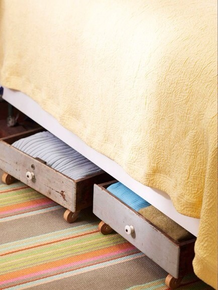 Drawers Under Beds  Turn old drawers into under bed storage by adding wheels. Clever and cute!