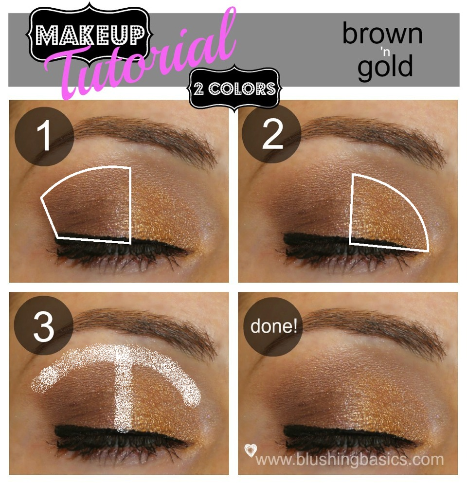 1. Add brown shadow on the outer half of the eye 2. Add gold eye shadow on the inner half of the eye 3.buff it out to remove rough line 4. Done