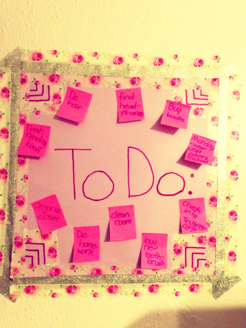 Use paper/ card stock  any color and washi tape And sticky notes to make a wall to do list