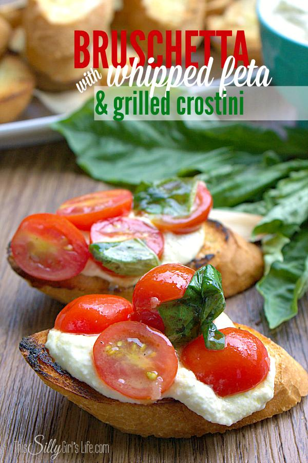The vinaigrette on the tomato bruchetta on it's own is amazing. You will love this to top any salad! It is tart, sweet and has a nice kick from the fresh garlic added to it. This appetizer might look and sound complicated but it really can't get much easier