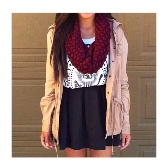 All you need is  -a skirt - a sweater of some sort - high socks or tights - cute shirt  - scarf  - that's it! you have a fall skirt outfit!!!