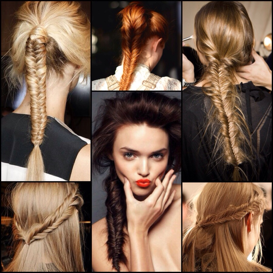 Breath taking fishtail  Split section of hair into two and grab one piece of hair from the left and put it over to the right and then get a piece from the right and bring it to the left and so that all the way down the hair And the smaller the section the better it looks