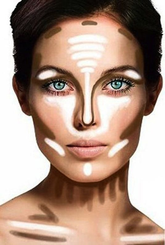 18. Proper Contouring  For the most part, your t-zone and under eye area is where you want to highlight, and the outer portion of your face, underneath your cheekbones, and your neck is where you want to define with a darker color.